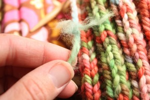 Frayed yarn