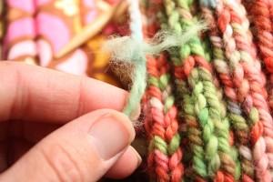 Frayed yarn