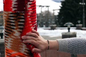Yarn Bombing Higgins Mama Loves Knitting Hand Model